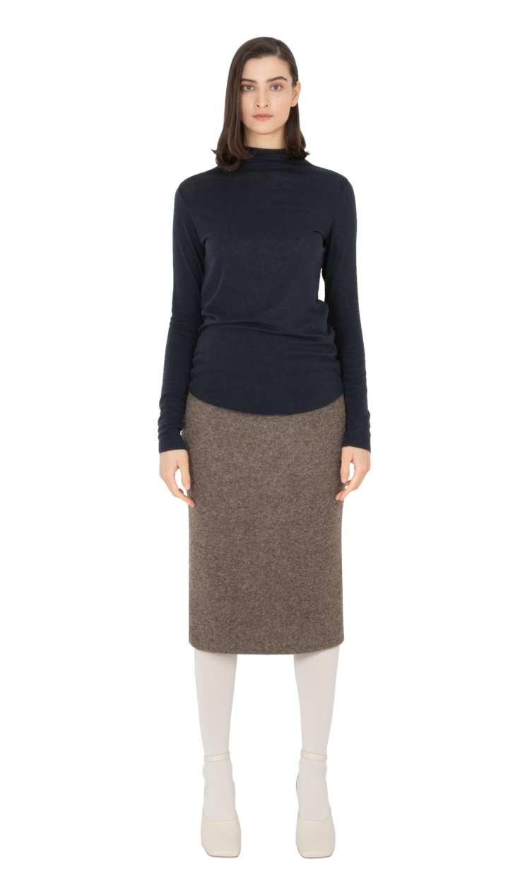 Navy second skin wool blouse
