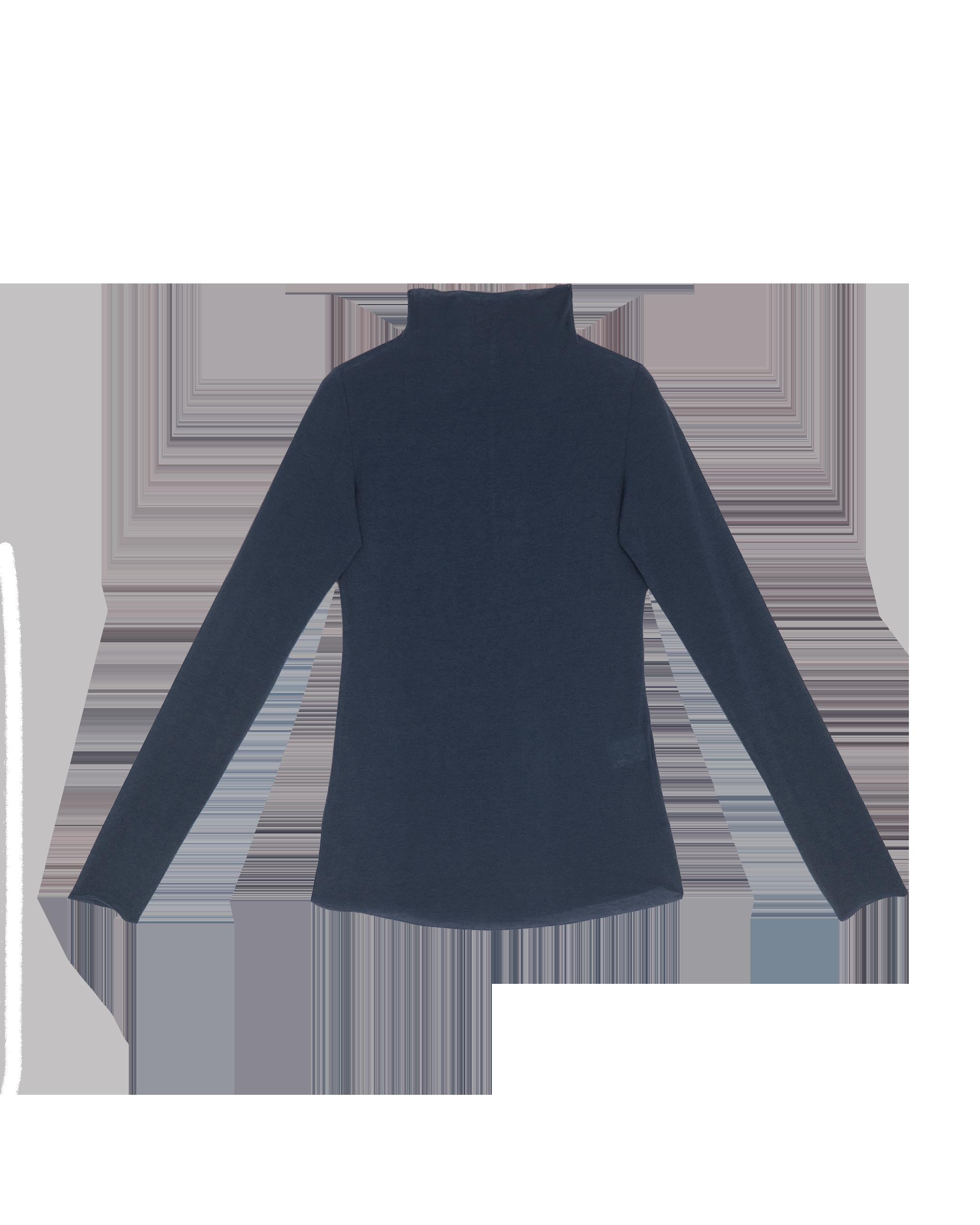 EMIN + PAUL navy second skin wool blouse.