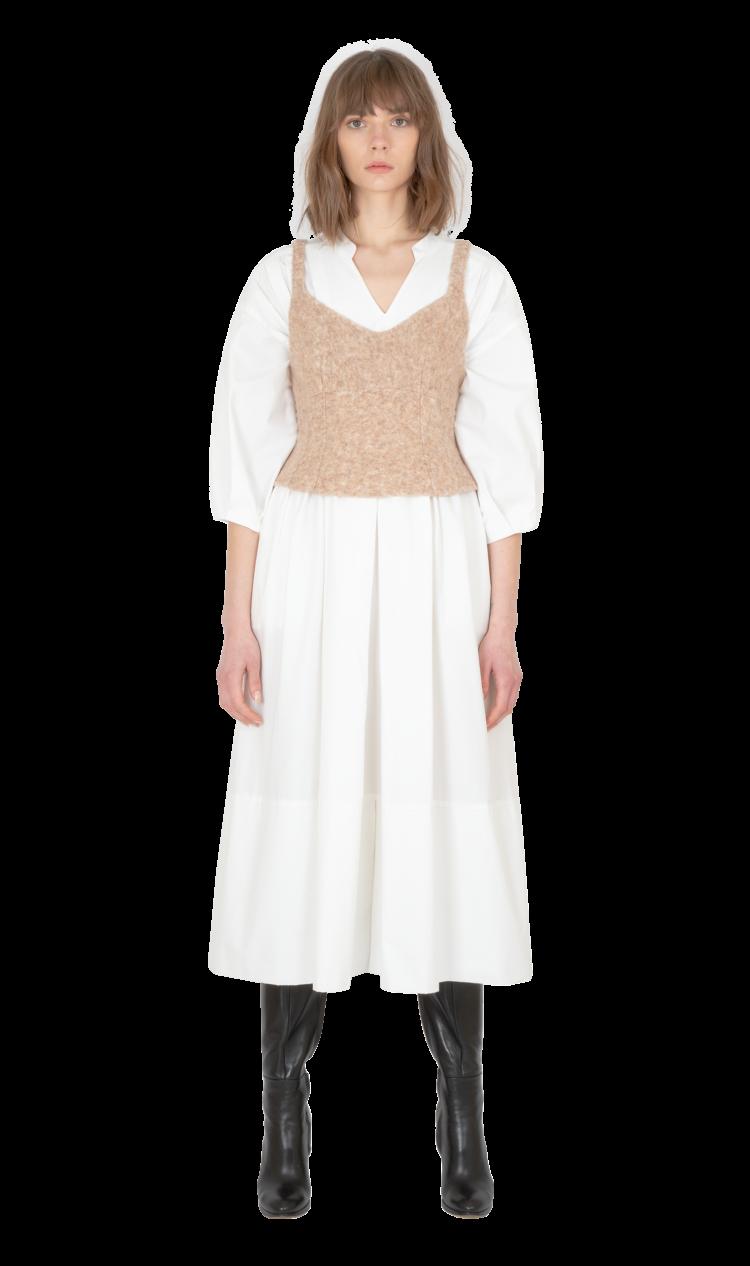 Beige felted wool corset top