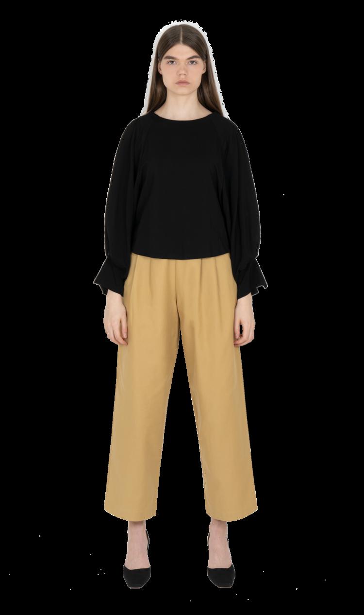 Black volume sleeve blouse
