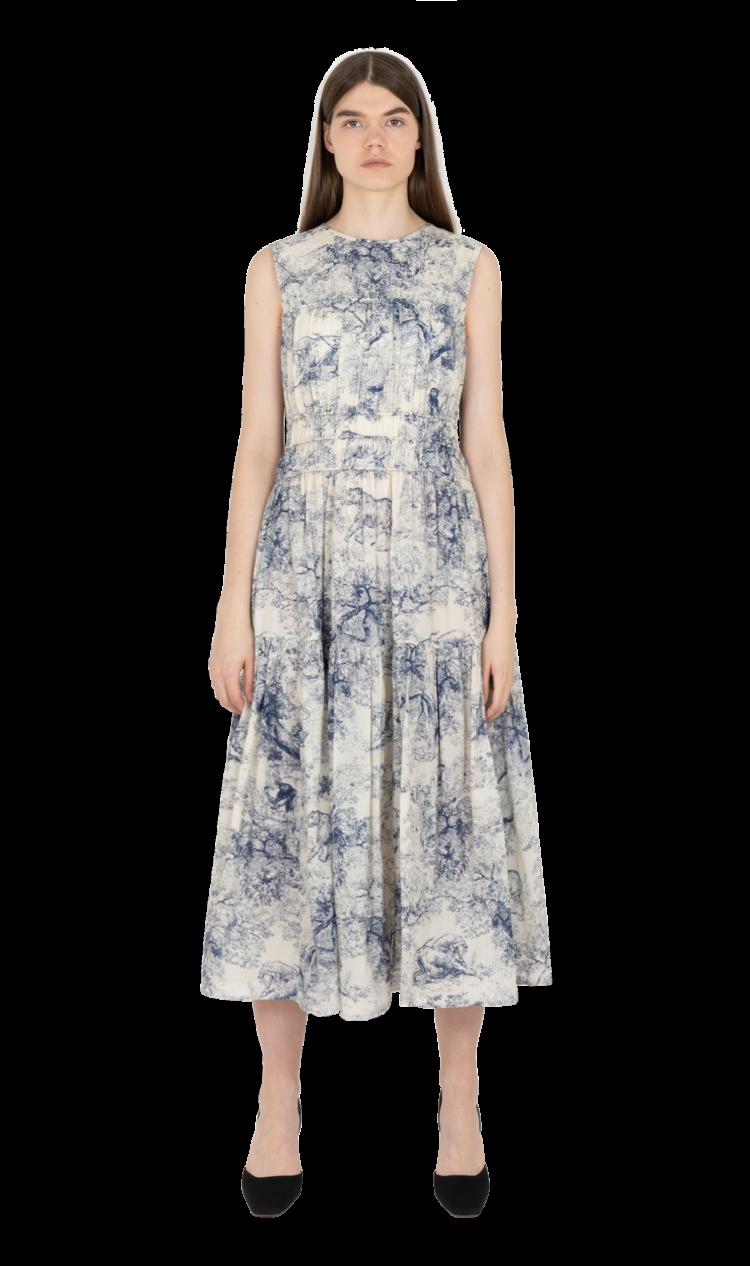 Blue-print triple gathered dress