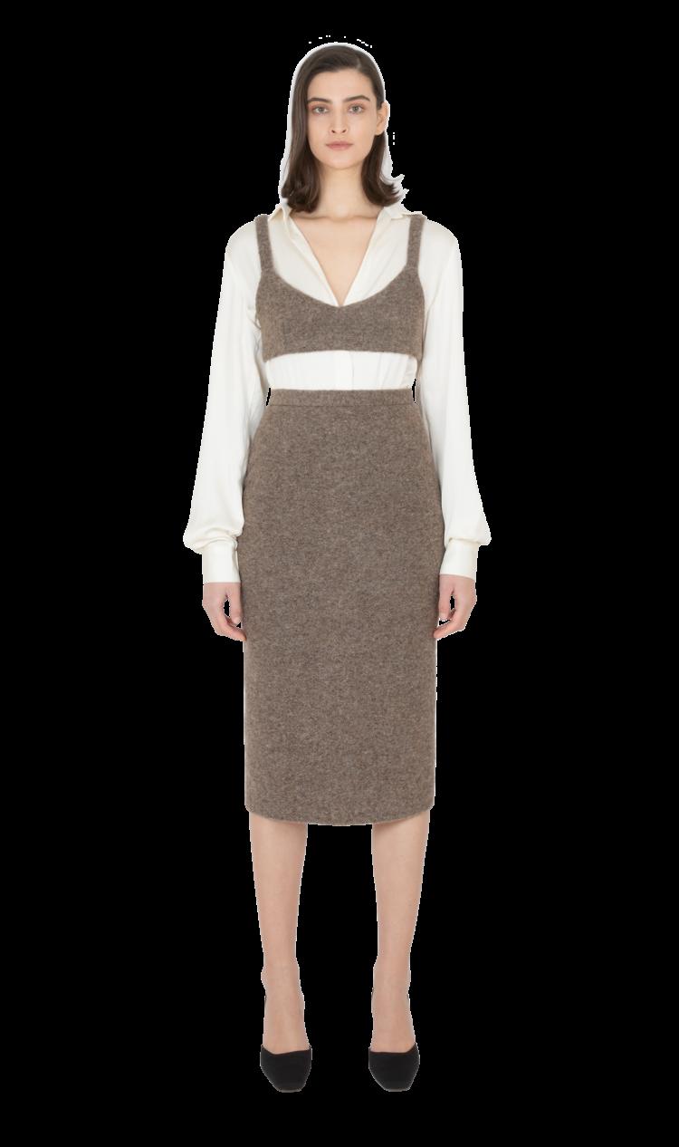 Brown felted wool skirt