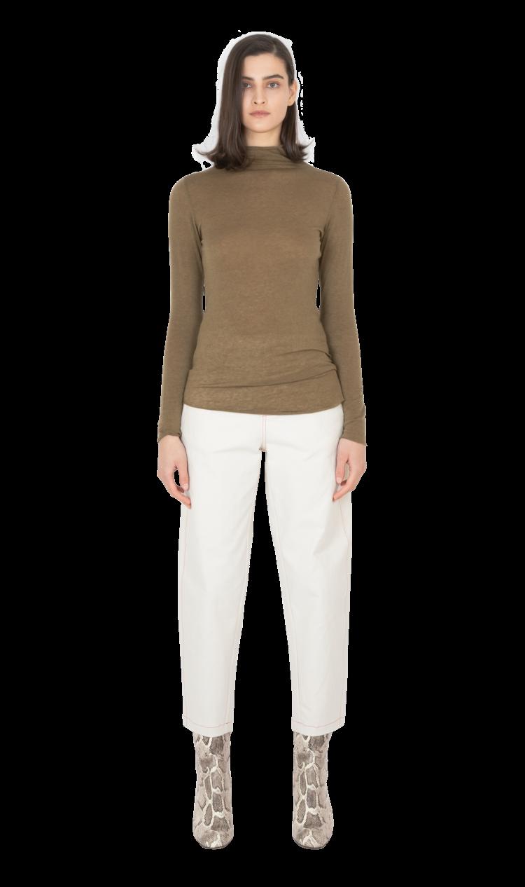 Khaki second skin wool blouse