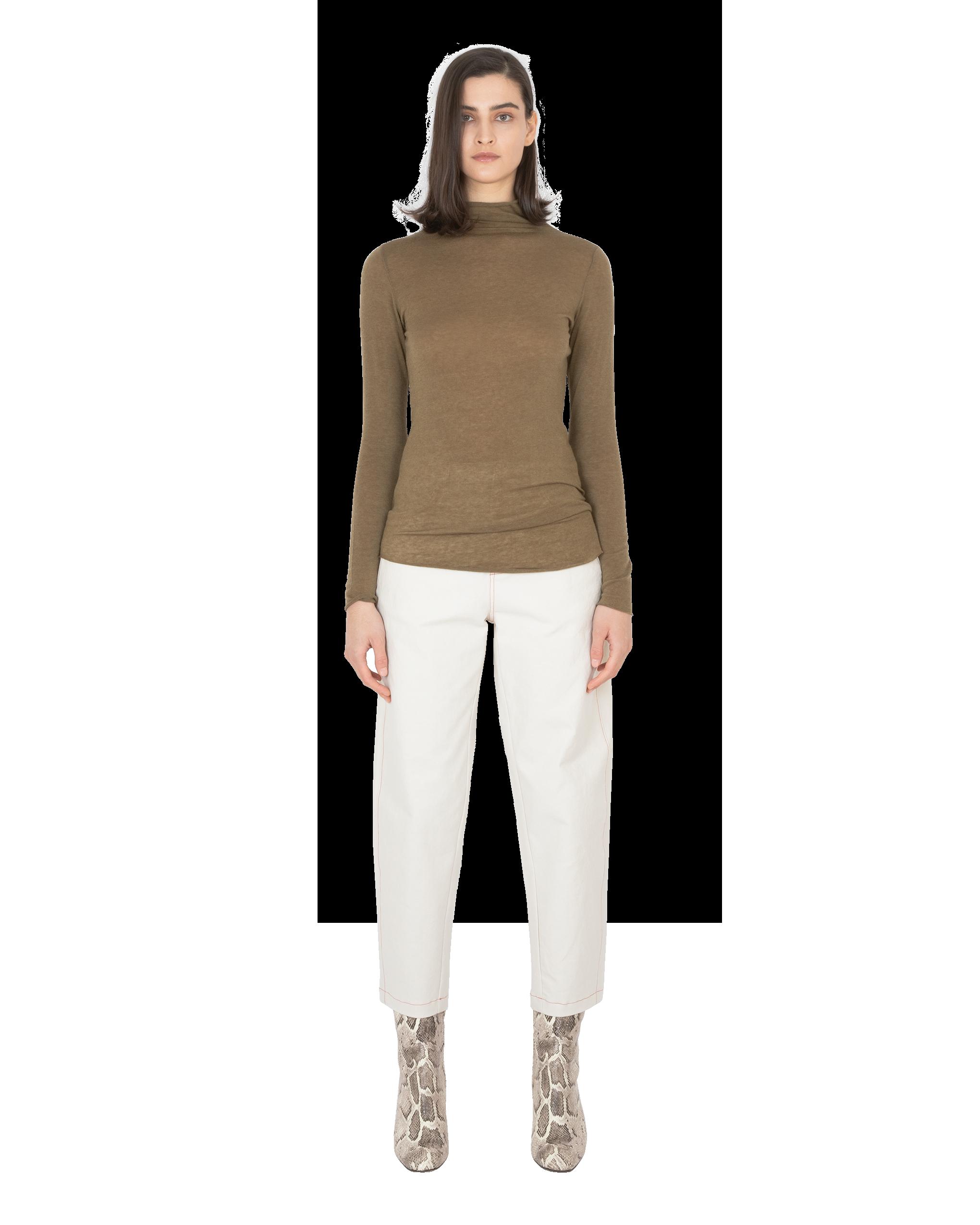 Model wearing EMIN + PAUL khaki second skin wool blouse.