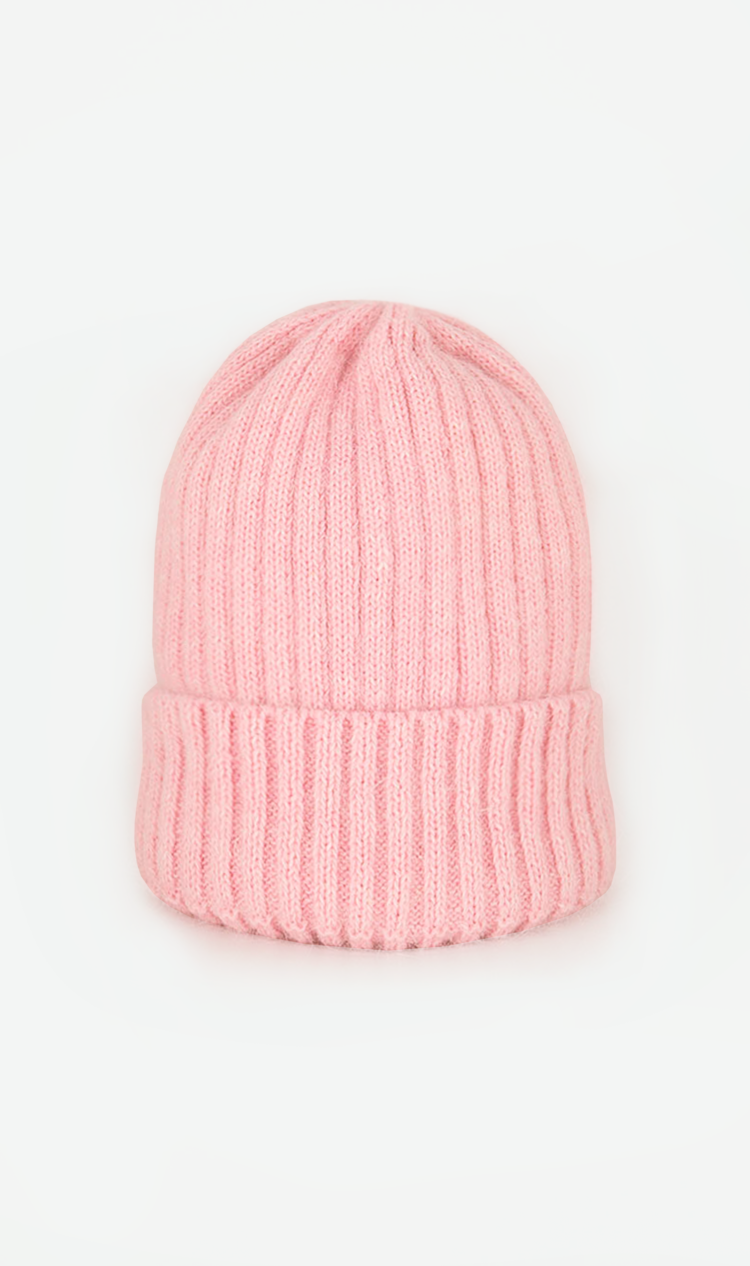 Pale-pink ribbed beanie