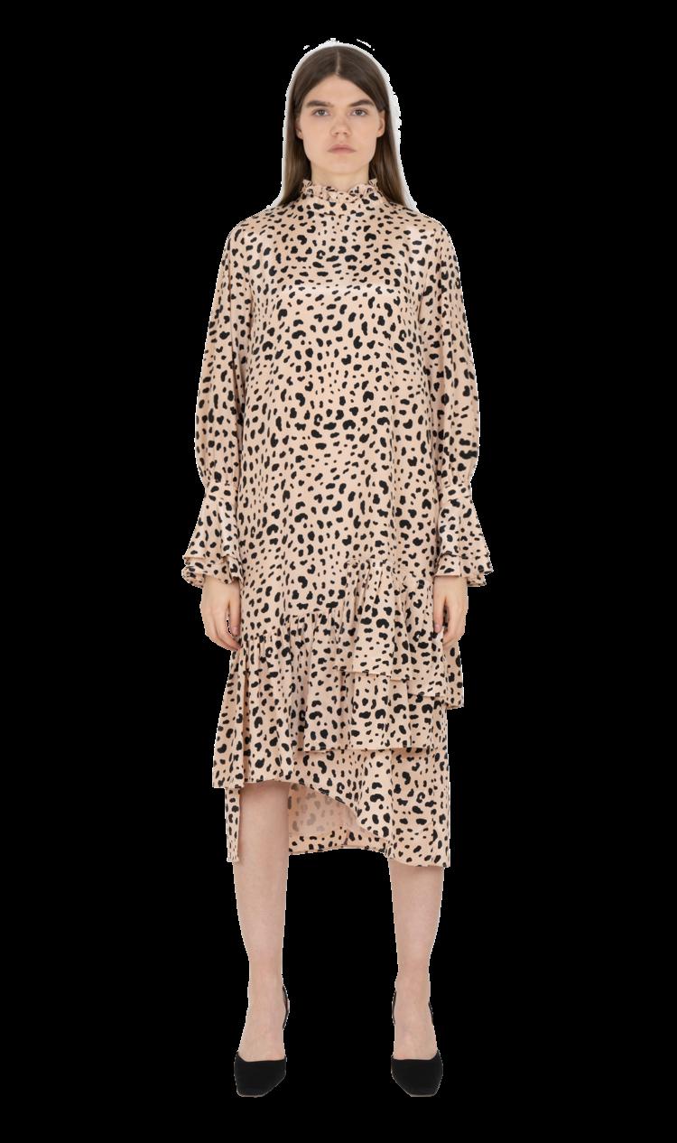 Pink-leopard asymmetrical ruffle dress