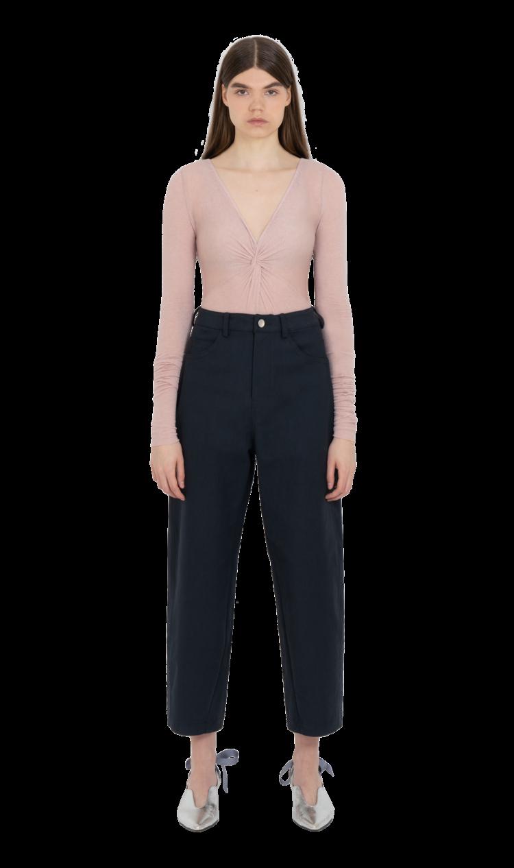 Pink twist-front bodysuit