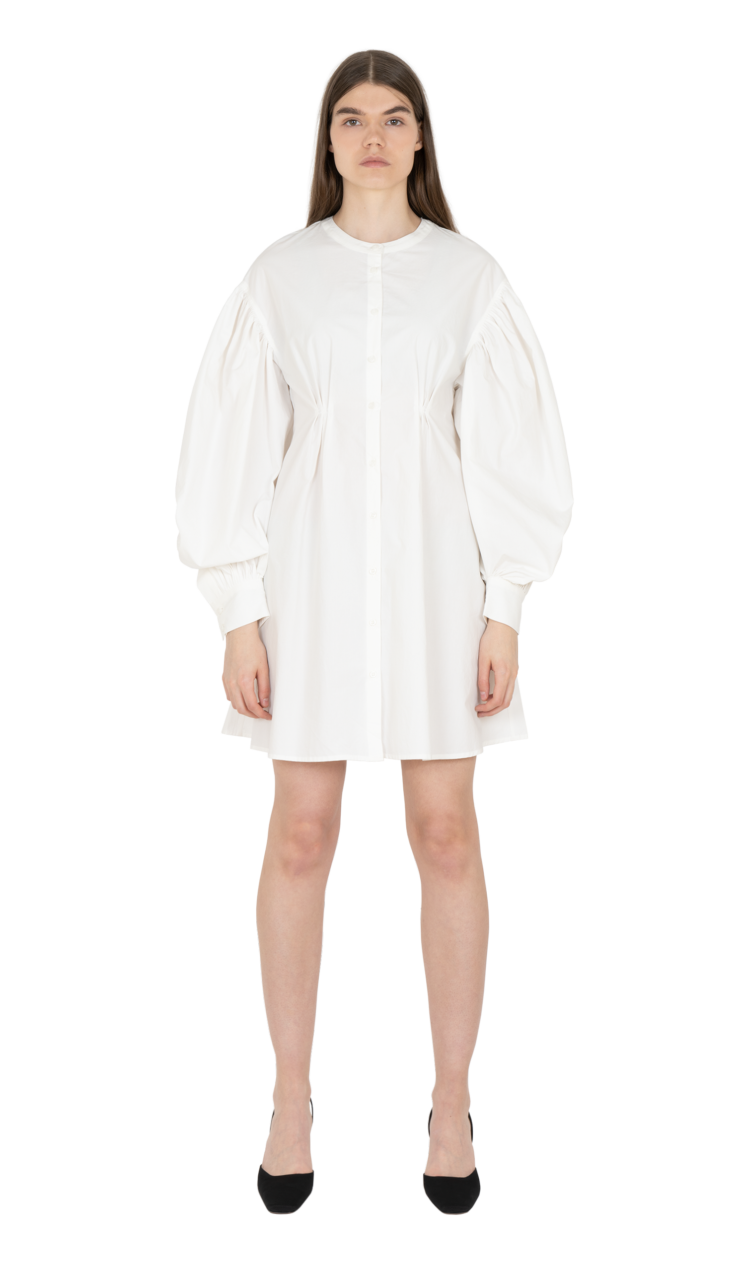 White cinched illusion dress