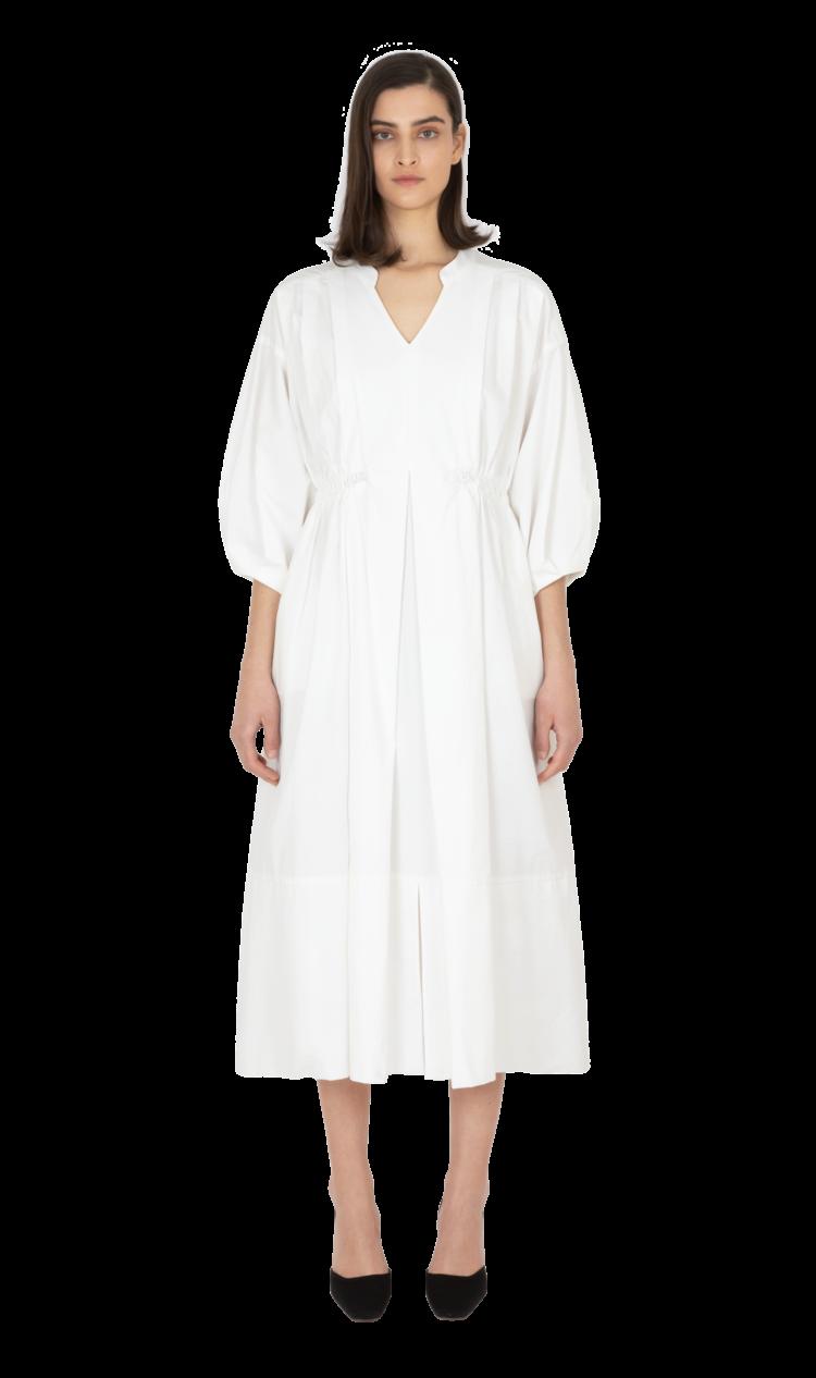 White double toggle dress