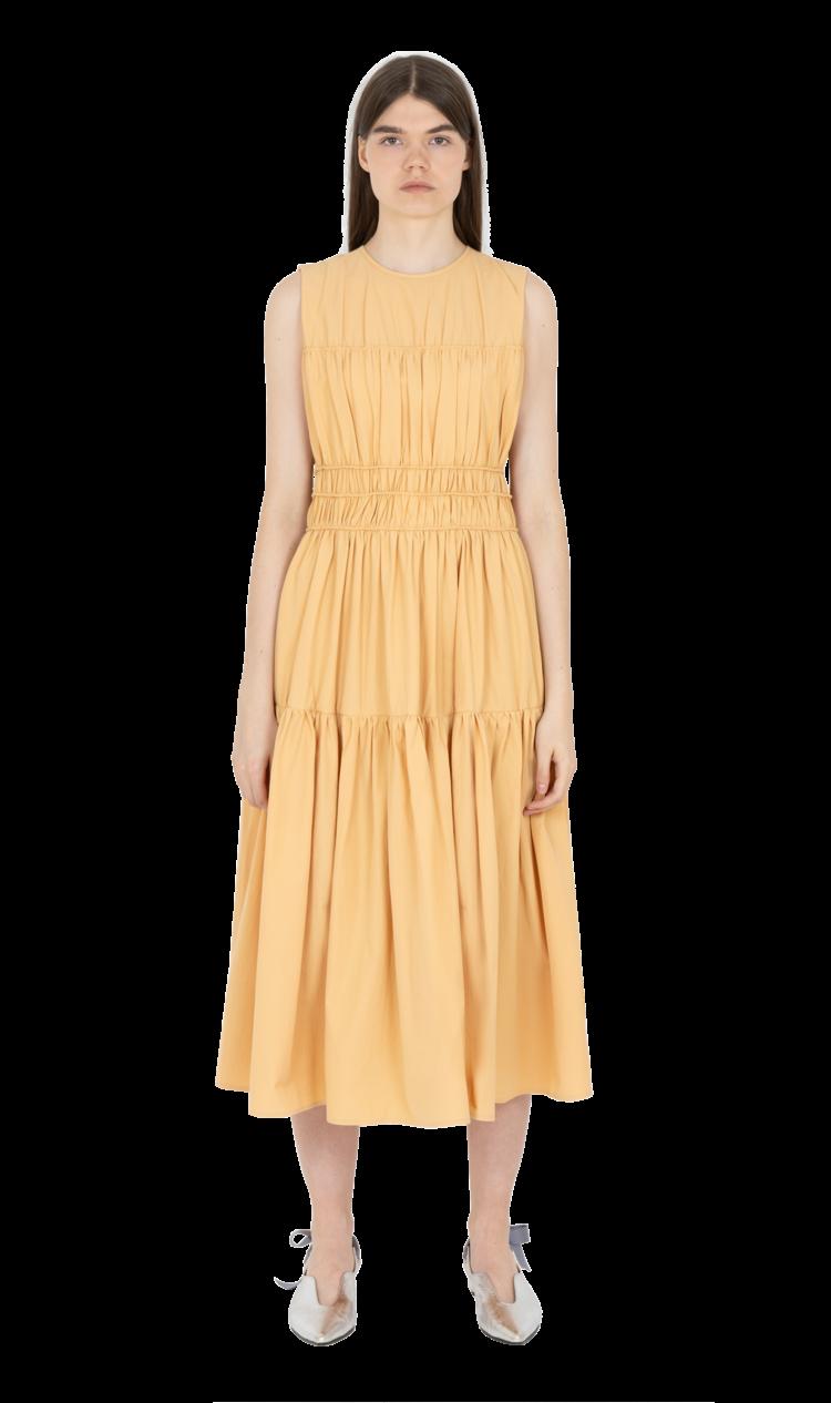 Yellow triple gathered dress