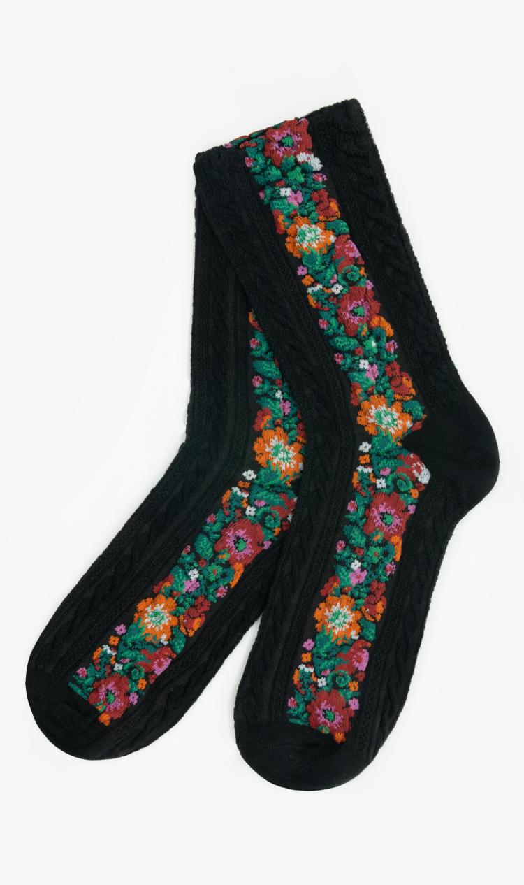 Black floral braid socks