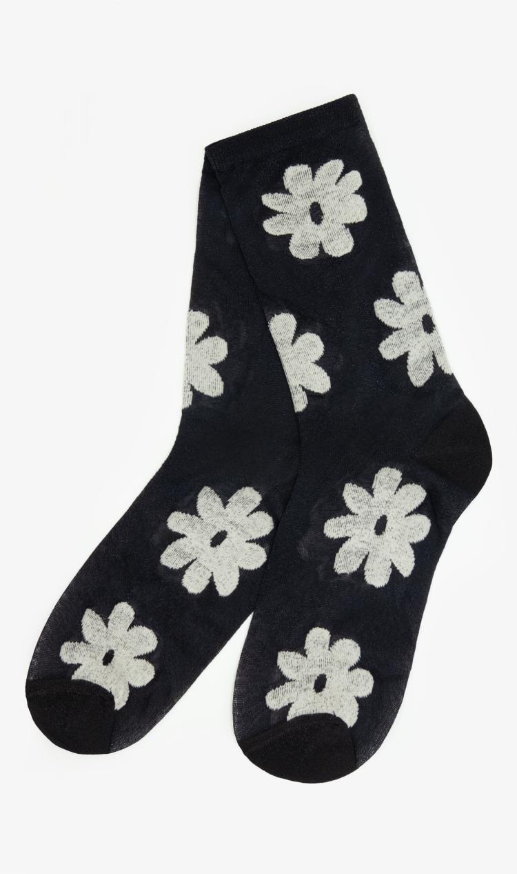 Black flower socks