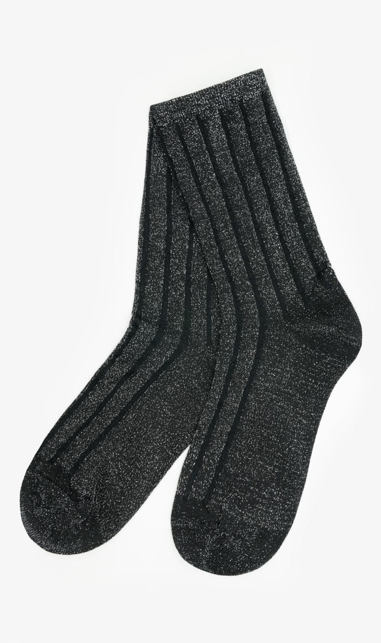 Black glitter stripe socks