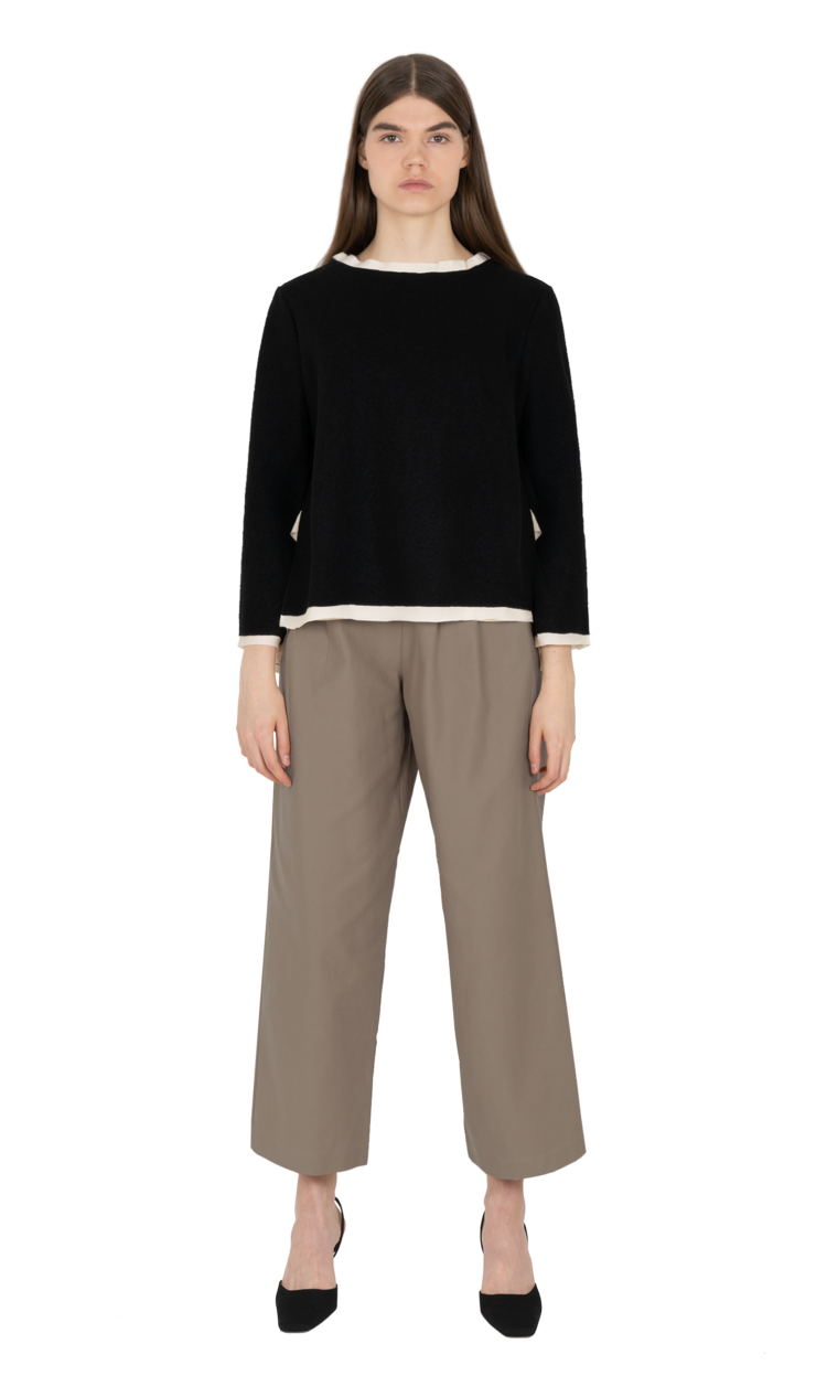 Black layered illusion blouse