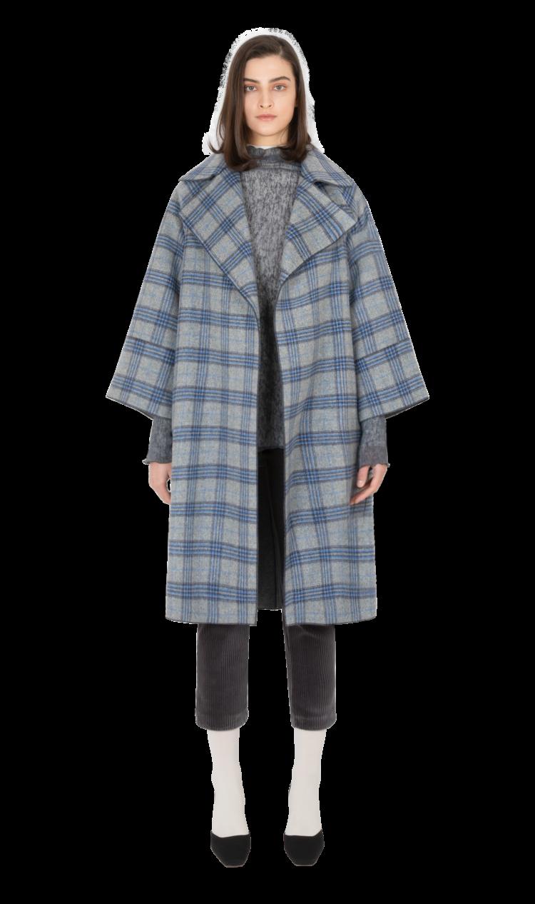 Blue-check cashmere coat