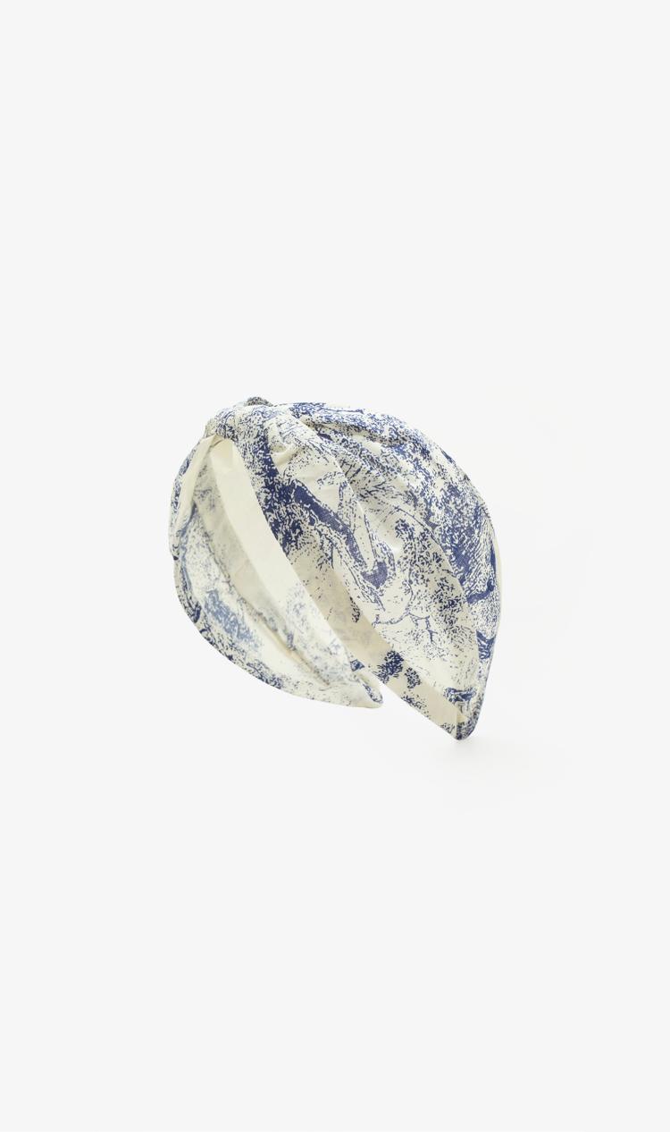 Blue-print cotton headband