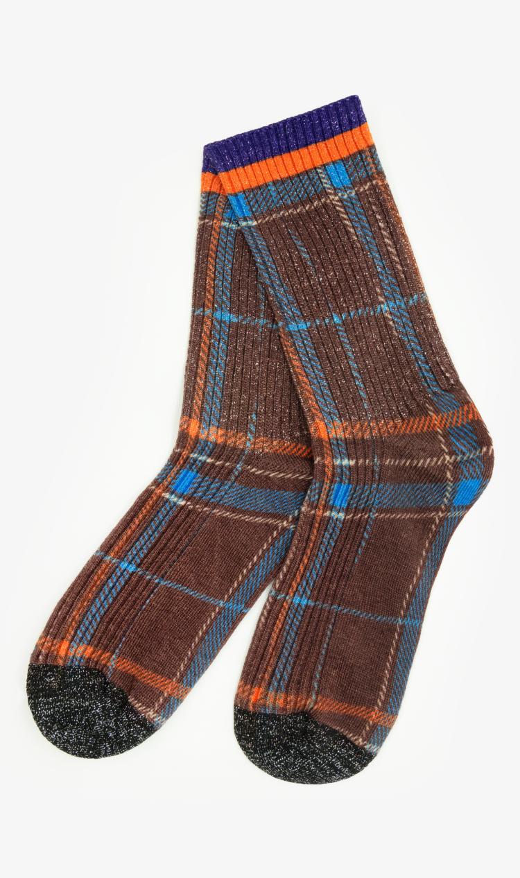 Brown glitter check socks