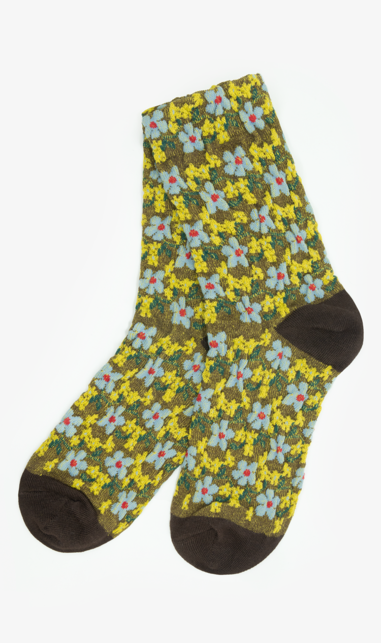 Brown textured floral socks
