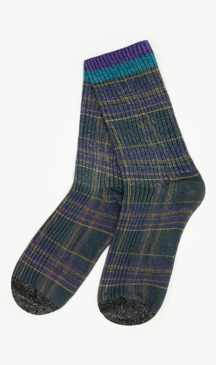 Charcoal glitter check socks
