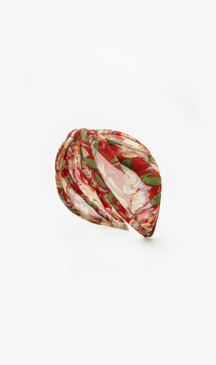 Crimson floral headband
