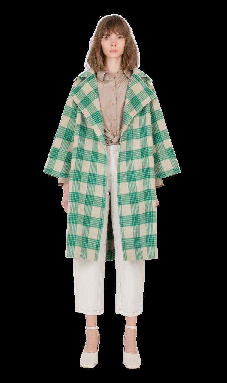 Green-check cashmere coat