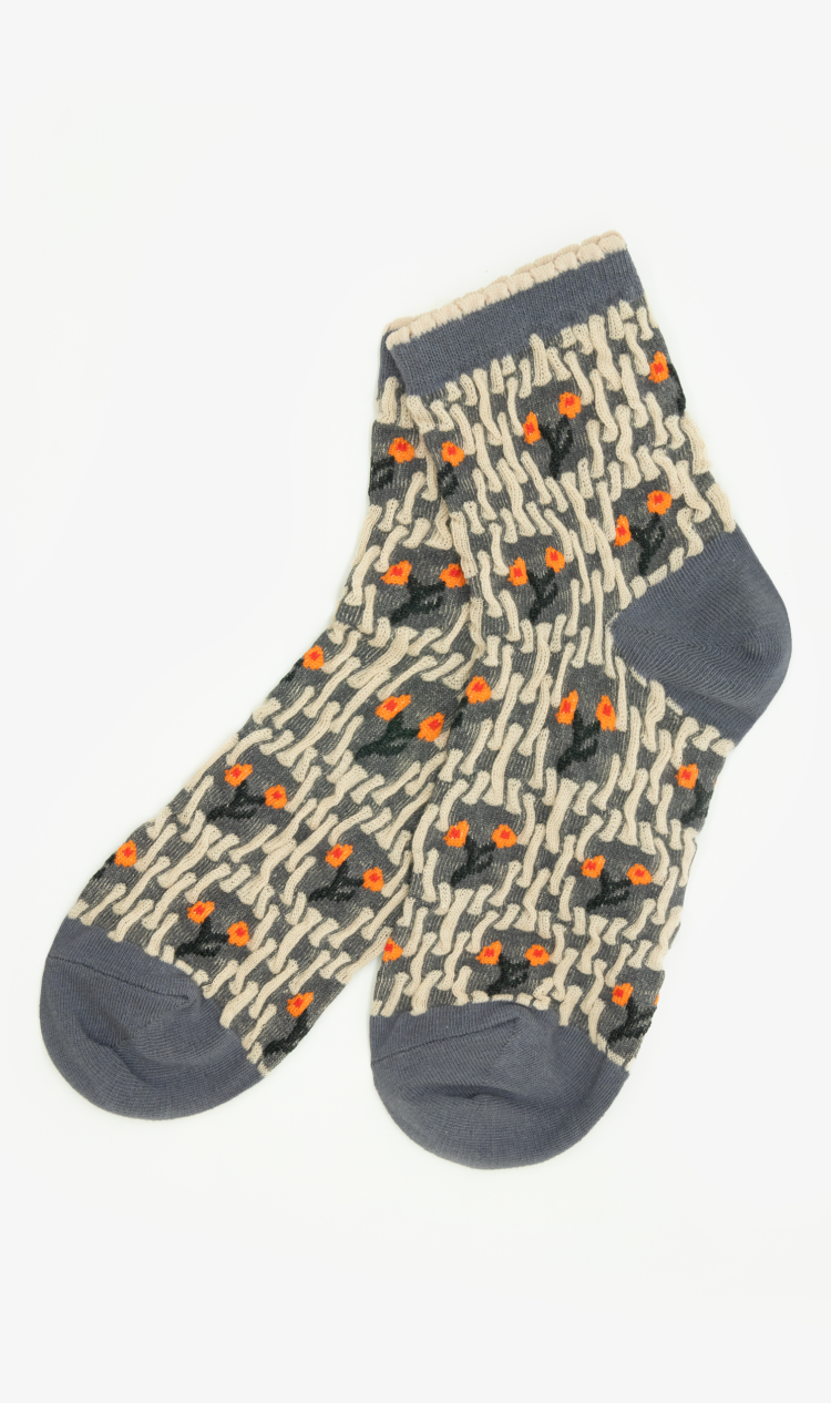 Grey abstract forest ankle socks