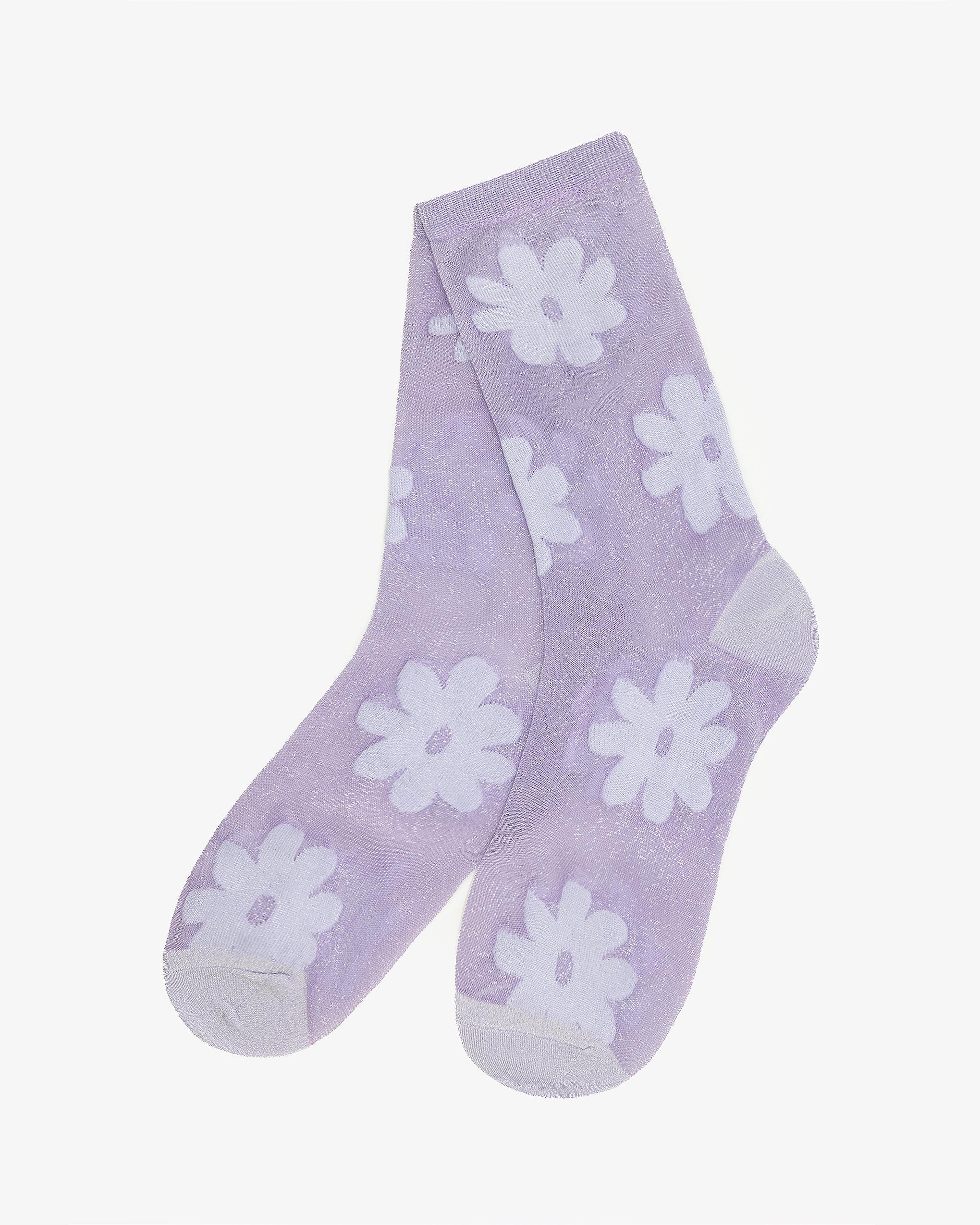 EMIN + PAUL lilac flower socks.