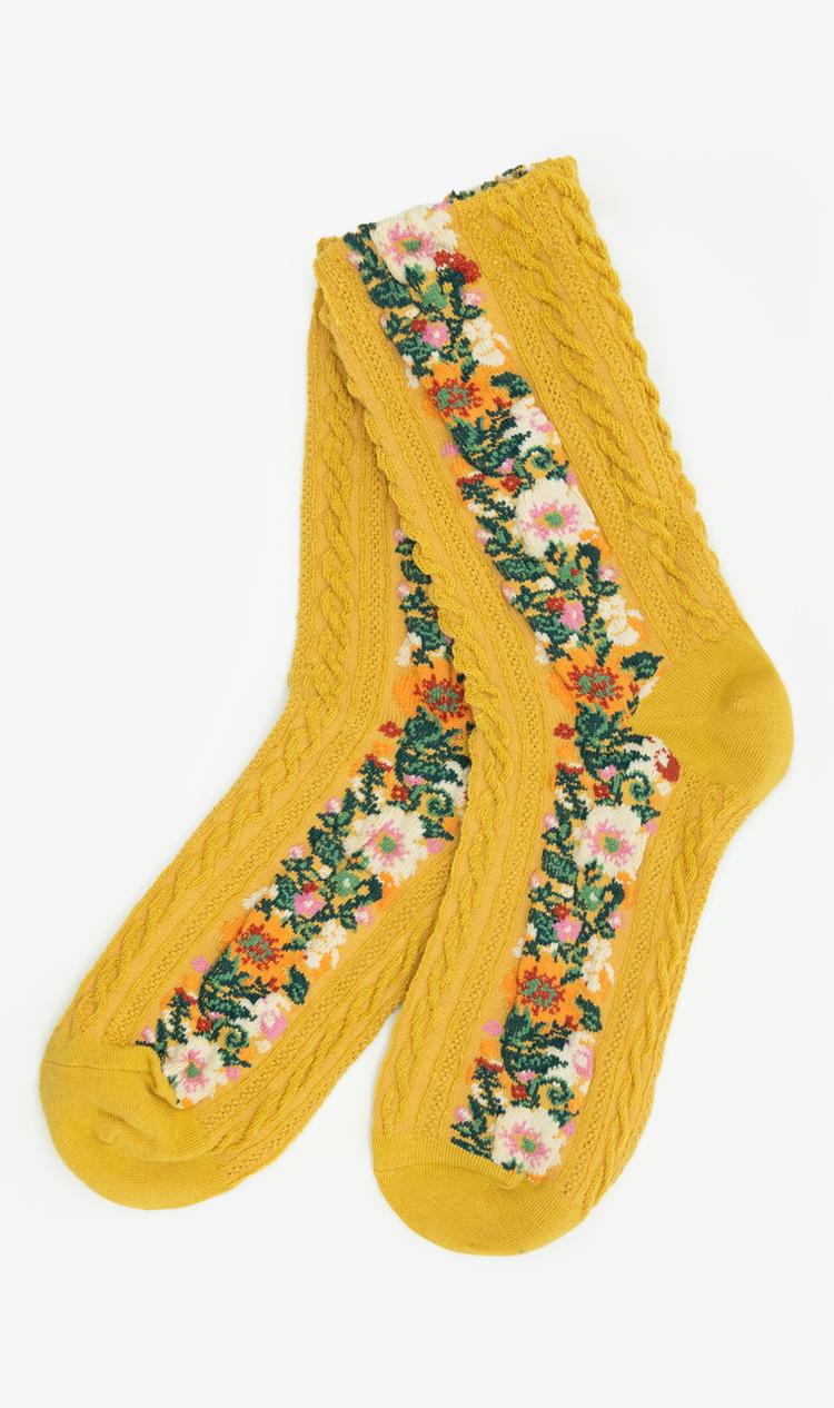Mustard floral braid socks