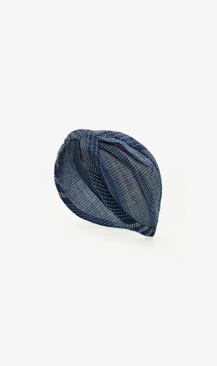 Navy dotted stripe headband