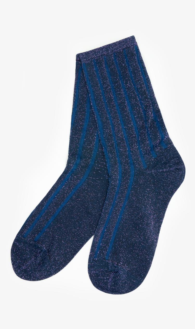 Navy glitter stripe socks