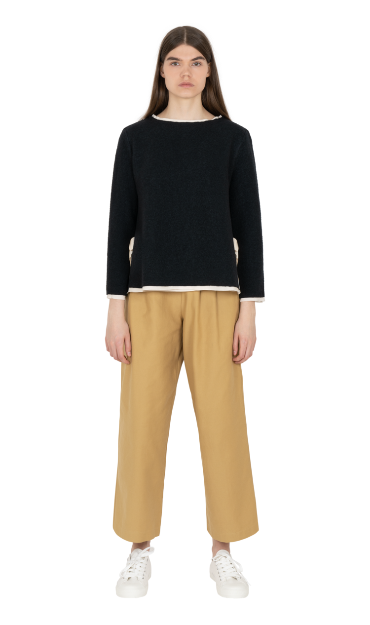 Navy layered illusion blouse