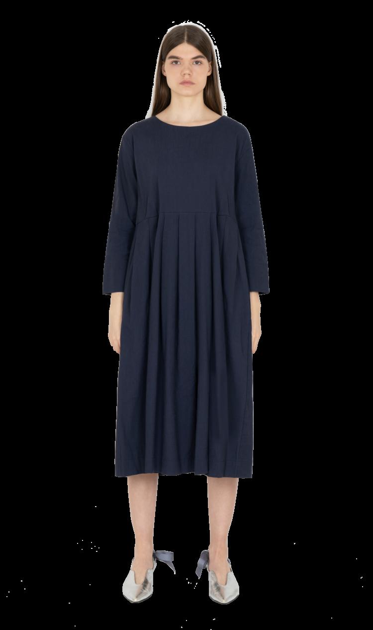 Navy pleated smock dress