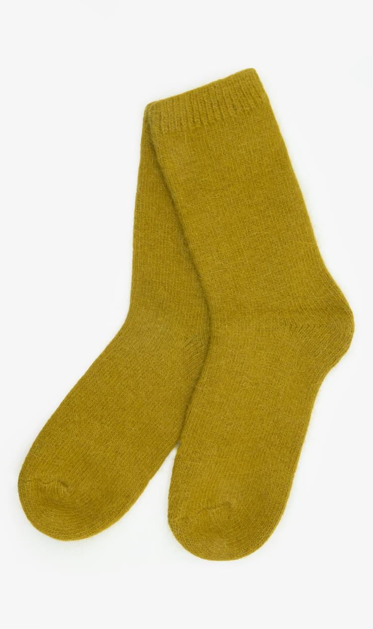 Ochre angora socks