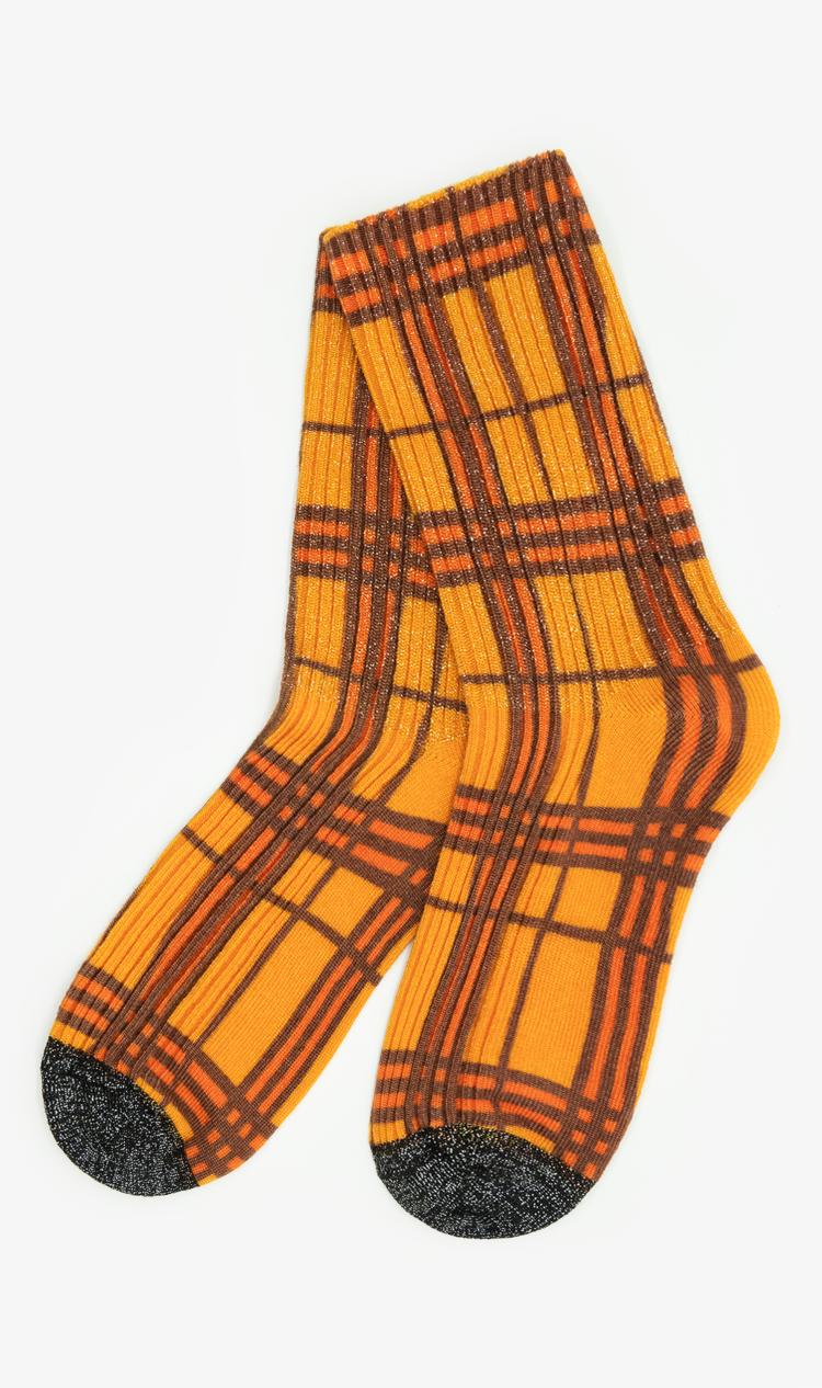 Orange glitter check socks