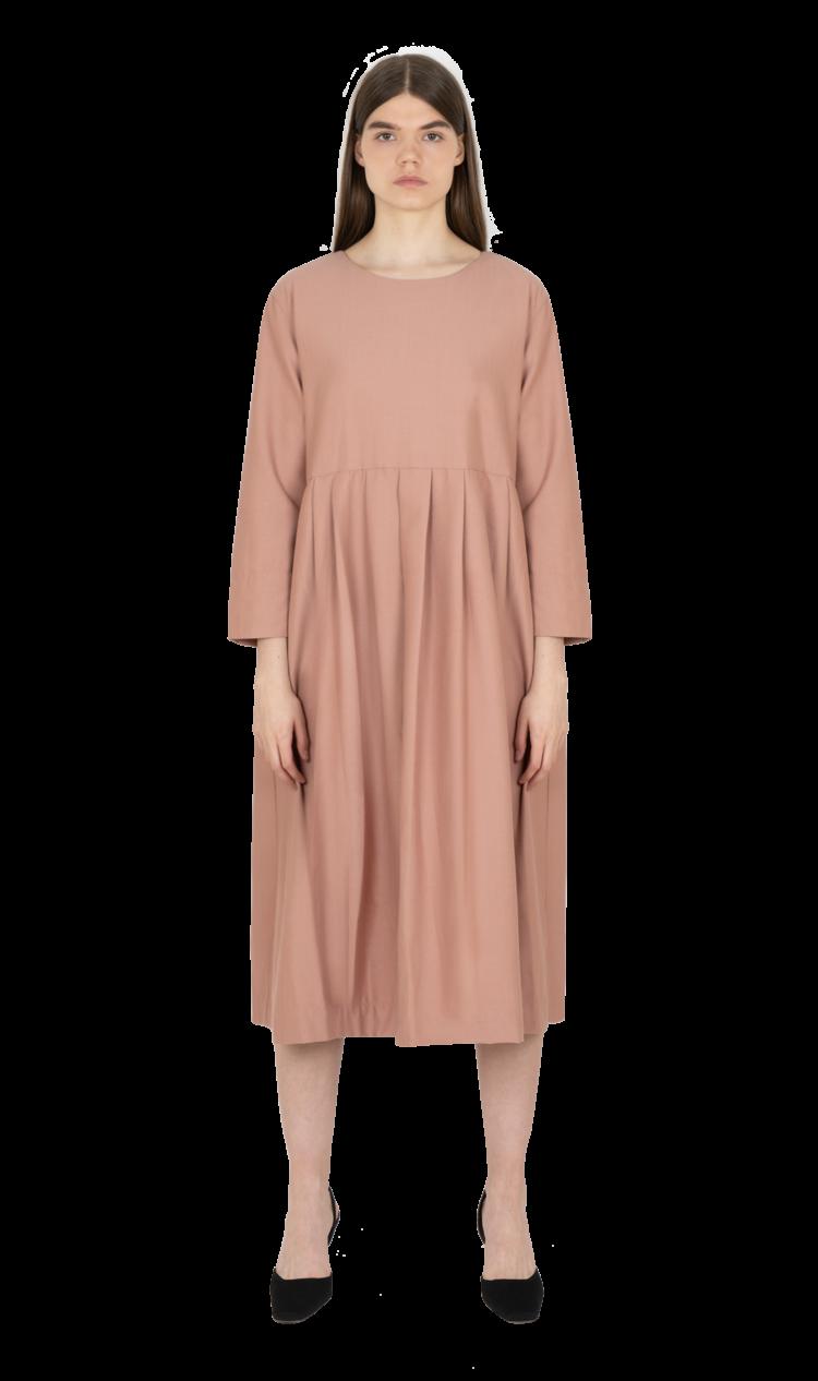 Pink-herringbone pleated smock dress