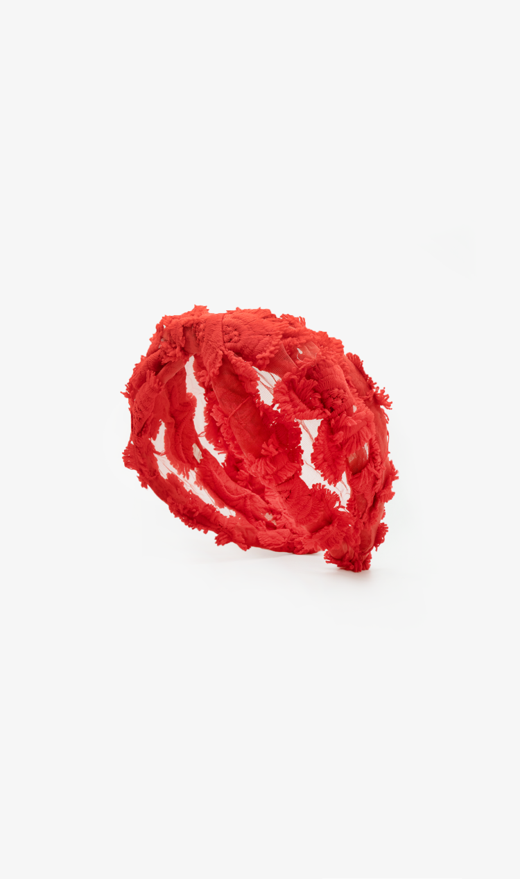 Red textured floral headband