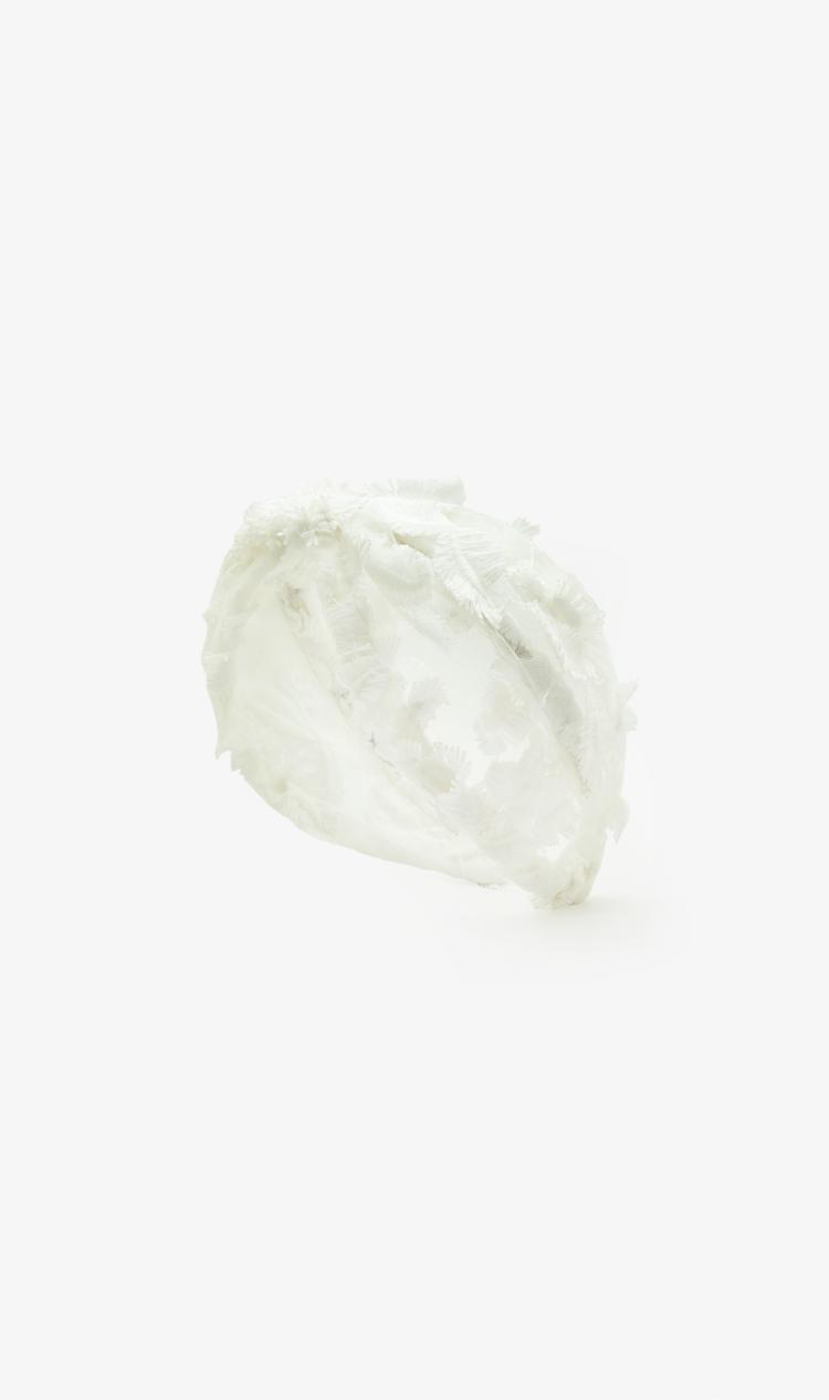 White textured floral headband