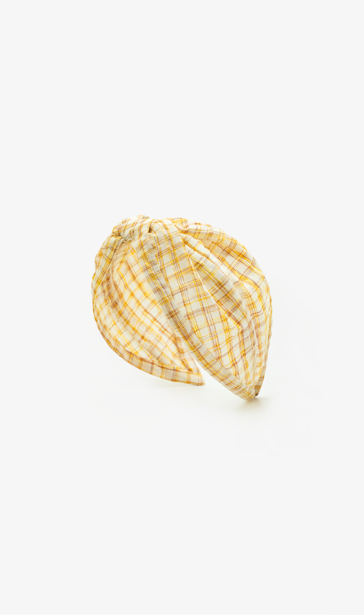 Yellow check headband