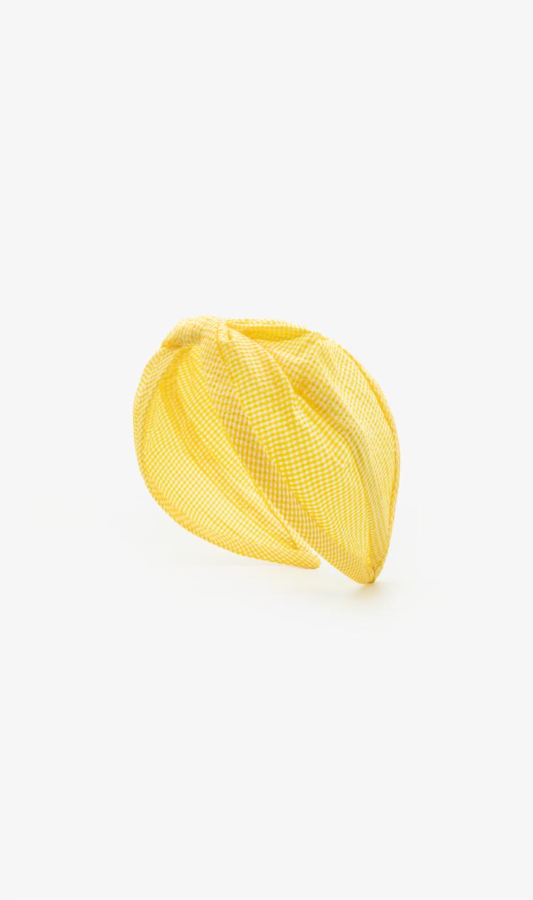 Yellow gingham headband